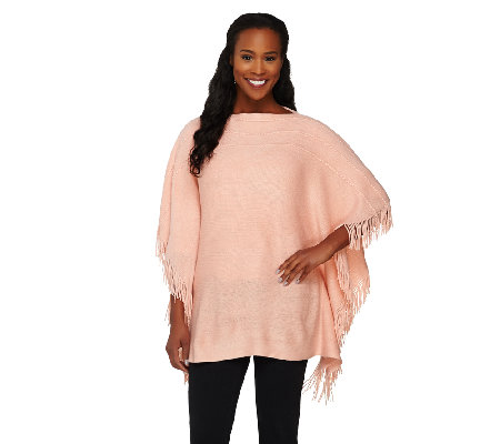 """As Is"" Layers by Lizden Marvelush Cable Knit Fringed Poncho"