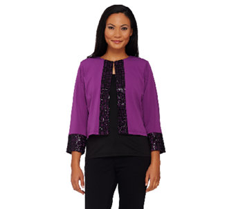 Bob Mackie's Bracelet Sleeve Open Front Jacket with Sequin Trim - A269538