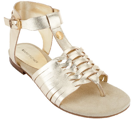 """As Is"" Marc Fisher Leather Sandals with Woven Detail - Lea"