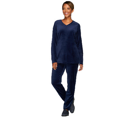 Denim & Co. Active Petite Velour Tunic and Pant Set w/ Quilting Detail