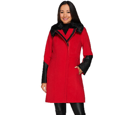 Dennis Basso Coat with Faux Leather Trim and Faux Fur Collar