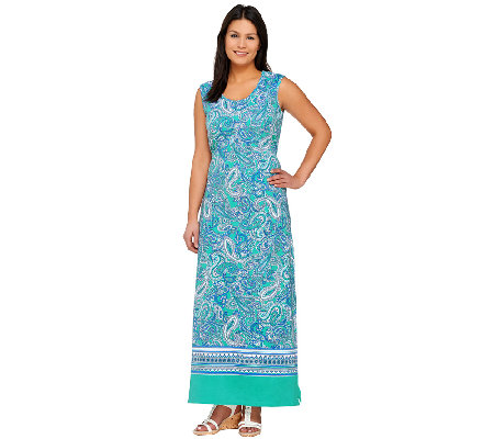 """As Is"" Denim & Co. Paisley Border Print Sleeveless Maxi Dress"