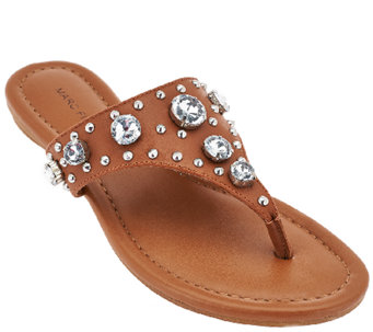 """As Is"" Marc Fisher Thong Sandals w/ Jewel Accents- Gissel - A271538"