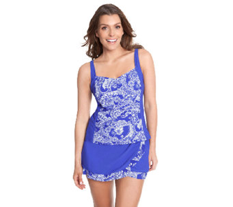 """As Is"" Liz Claiborne New York Paisley Print Skirtini Swimsuit - A271738"