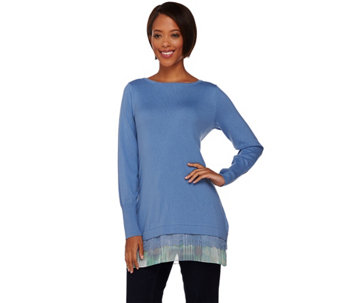 LOGO by Lori Goldstein Petite Cotton Cashmere Sweater - A272838