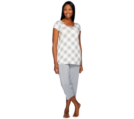 LOGO Luna by Lori Goldstein Plaid T-shirt with Crop Pants Pajama Set
