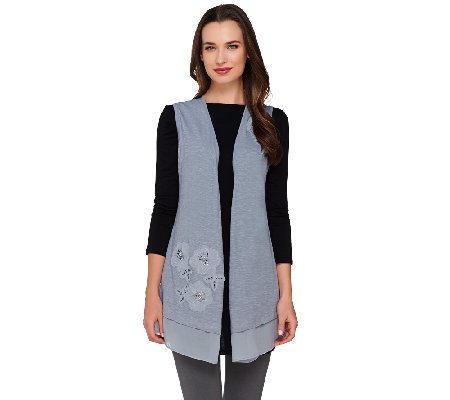 """As Is"" LOGO by Lori Goldstein Slub Knit Vest with Embroidery and Chiffon Hem"