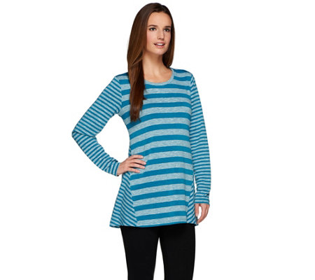 LOGO by Lori Goldstein Long Sleeve Sweater Knit Striped Top