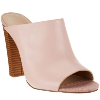 H by Halston Open-Toe Leather Mules w/ Stacked Heel - Kendra