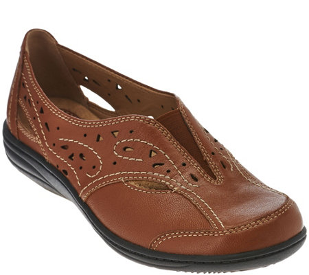 Earth Origins Leather Perforated Slip-ons - Lauryn