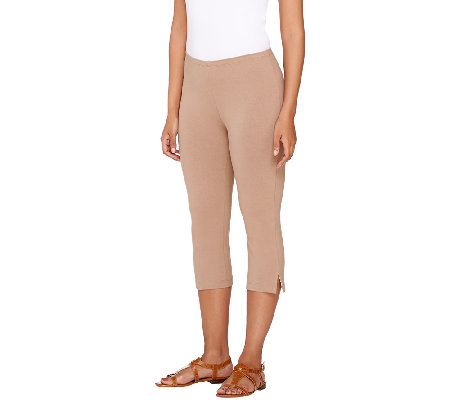 """As Is"" Susan Graver Weekend Cotton Spandex Pedal Pusher Leggings"