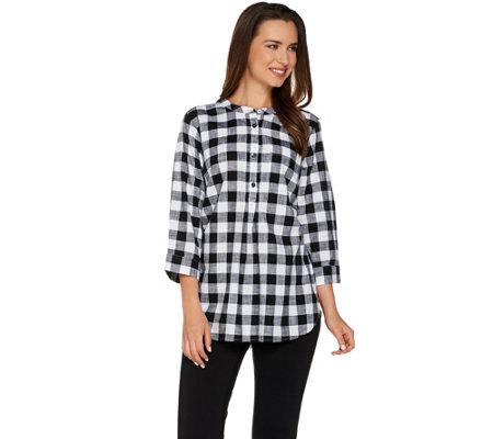 Joan Rivers Buffalo Check Tunic with 3/4 Sleeves