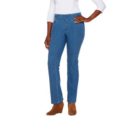 """As Is"" Denim & Co. ""How Smooth"" Petite Lightly Bootcut Jeans"