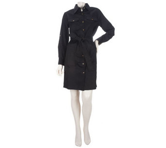 """As Is"" Joan Rivers Tailored Shirt Dress with Tie Belt - A276838"