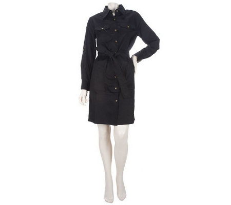 """As Is"" Joan Rivers Tailored Shirt Dress with Tie Belt"
