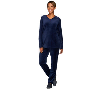 """As Is"" Denim & Co. Active Petite Velour Tunic and Pant Set w/ Quilting - A278038"