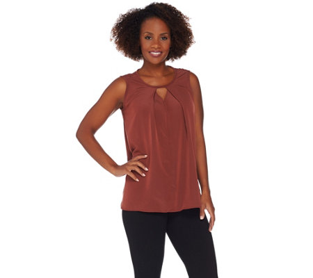 Lisa Rinna Collection Sleeveless Woven Top w/ Pleat Detail