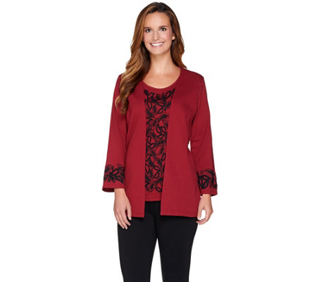 Bob Mackie's Ponte Knit Embroidered Cardigan & Tank Twinset