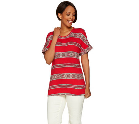 C. Wonder Medallion Stripe Print Short Sleeve Knit Top