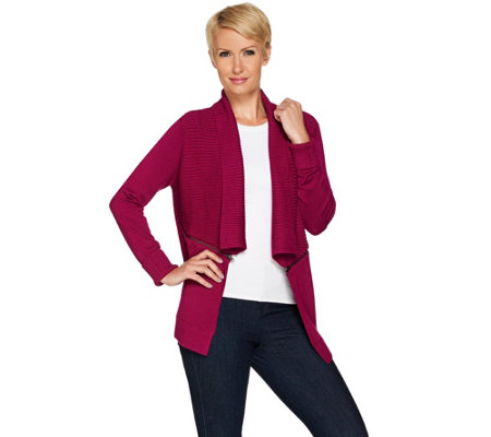Linea by Louis Dell'Olio Whisper Knit Cardigan with Zipper Detail