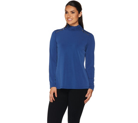 Susan Graver Liquid Knit Mock Neck Top with Trim Detail