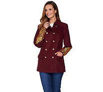 C. Wonder Double Breasted Peacoat with Lurex Embroidery - A282038