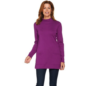 Denim & Co. Essentials Mock Neck Long Sleeve Tunic with Pockets - A283538