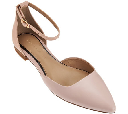 """As Is"" H by Halston Leather Flats with Adjustable Strap - Layla"