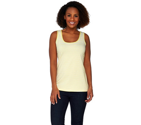 """As Is"" Susan Graver Weekend Striped Cotton Modal Scoop Neck Tank"