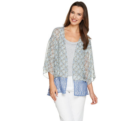"""As Is"" LOGO by Lori Goldstein Printed Chiffon Kimono with Lace Trim"