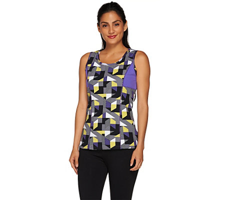 """As Is"" Denim & Co. Active Duo- Stretch Printed Tank Top"