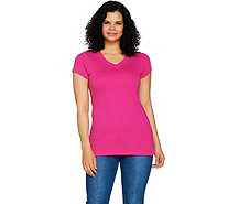 Isaac Mizrahi Live! Essentials Rounded V-Neck Tunic with Hem - A289638