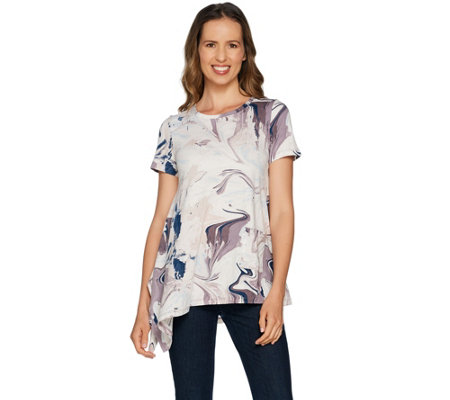 LOGO by Lori Goldstein Printed Knit Top with Asymmetric Hem