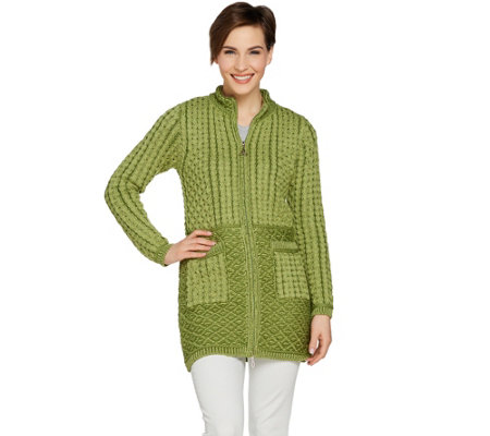 Aran Craft Merino Wool Zipped Cardigan with Jacquard Design
