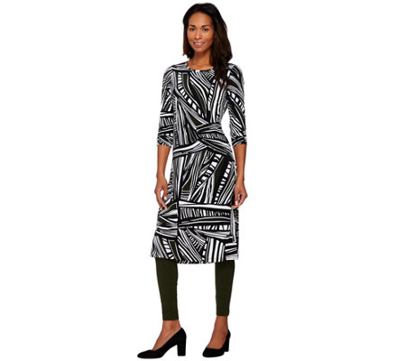 """As Is"" Women with Control Petite Printed Duster & Ankle Leggings Set"