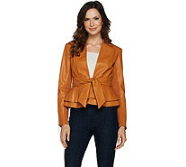 G.I.L.I. Tie Front Faux Leather Jacket - A293038