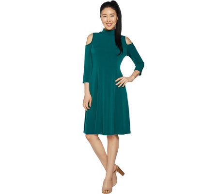 Susan Graver Liquid Knit 3/4 Sleeve Cold Shoulder Dress