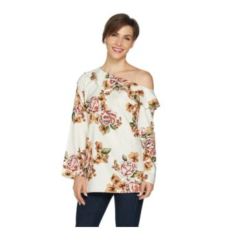 Du Jour One Shoulder Printed Top with Ruffle Neckline Detail