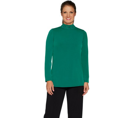 Susan Graver Artisan Liquid Knit Mock Neck Tunic