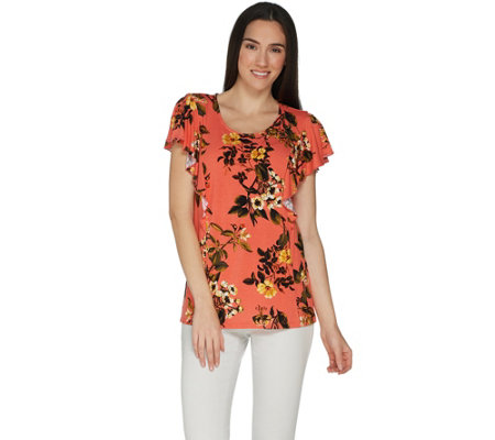 Du Jour Floral Printed Cascade Ruffle Front Knit Top