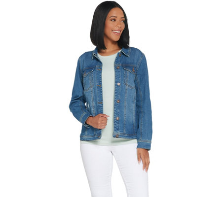 Studio by Denim & Co. Classic Denim Distressed Jean Jacket