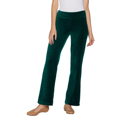 """As Is"" Denim & Co. Petite Stretch Velour Straight Leg Pull-On Pants"