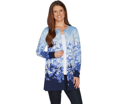 """As Is"" Isaac Mizrahi Live! Engineered Floral Jacquard Cardigan"