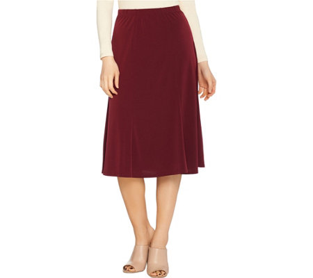 Susan Graver Liquid Knit Solid 6-gore Skirt