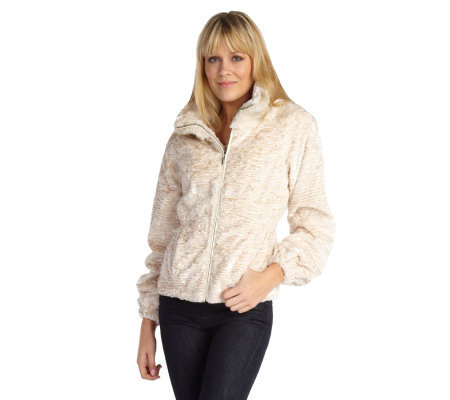 Luxe Rachel Zoe Faux Persian Fur and Faux Chinchilla Trim Jacket