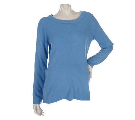 Susan Graver Essentials Plush Knit Jewel Neck Sweater