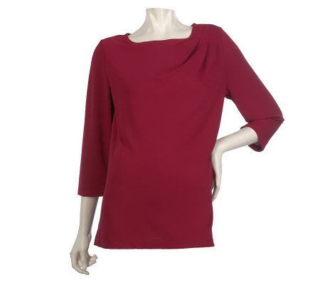George Simonton Elite Knit Top with Pleated Shoulder Detail