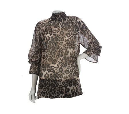 George Simonton Animal Print Smocked Turtleneck Blouse