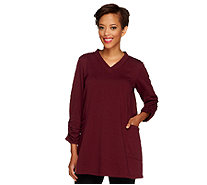 Susan Graver French Terry V-neck Tunic w/ Ruched Sleeves & Side Pockets - A219139