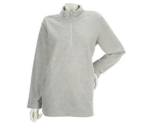 Quacker Factory 1/2 Zip Fleece Pullover with Rhinestones